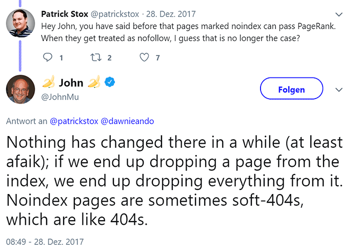 John Müller on Twitter: If we end up dropping a page from the index, we end up dropping everything from it. Noindex pages are sometimes [..] like 404s.